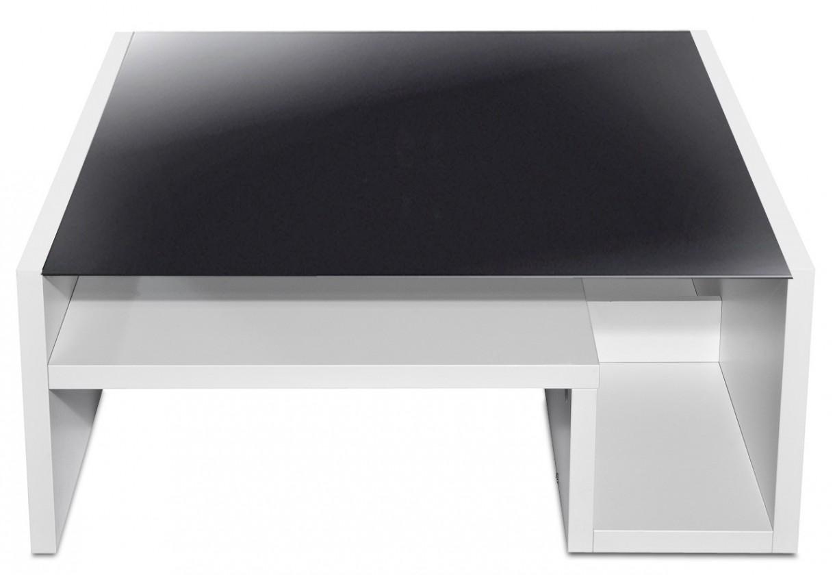Konferenční stolek - skleněný Game - konferenční stolek se skleněnou deskou (bílá/sklo černé)