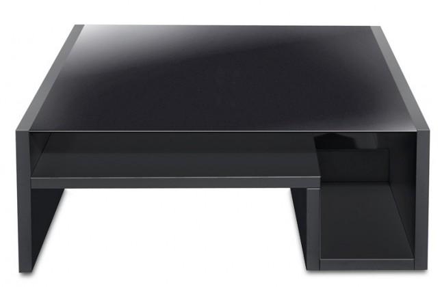 Konferenční stolek - skleněný Game - konferenční stolek se skleněnou deskou (černá/sklo černé)