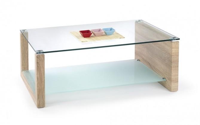 Konferenční stolek - skleněný Hilary(dub sonoma/mléčné sklo)