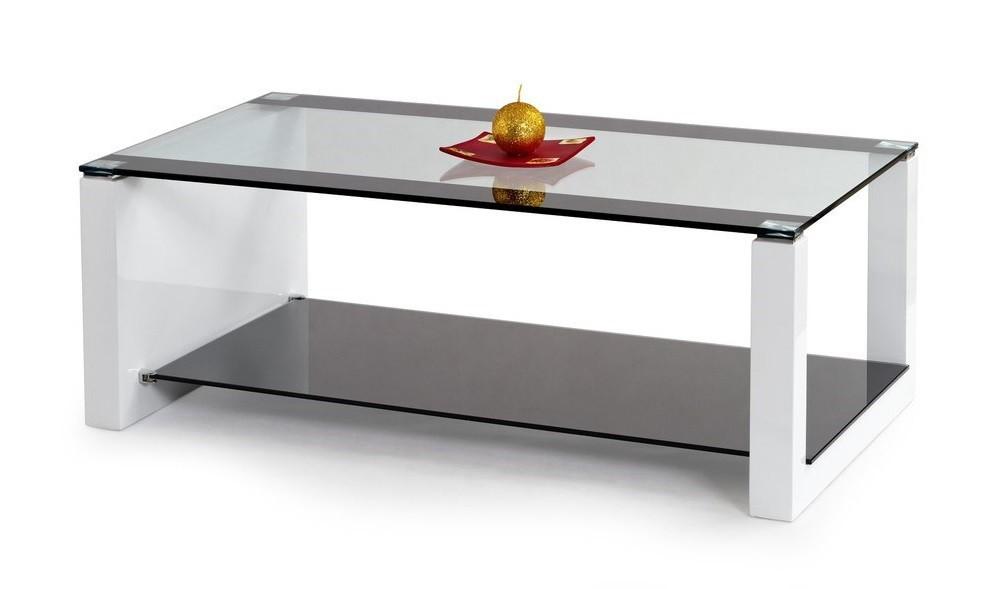 Konferenční stolek - skleněný Hilary (sklo/bílá-černá)