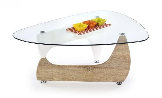 Konferenční stolek - skleněný Karen(dub sonoma/bílá)