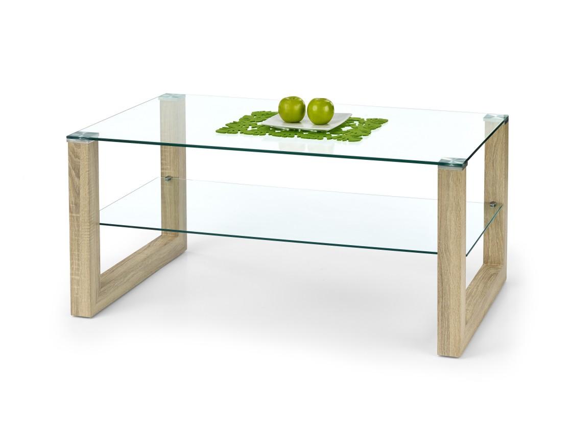 Konferenční stolek - skleněný Kelly - Konferenční stolek (dub sonoma)