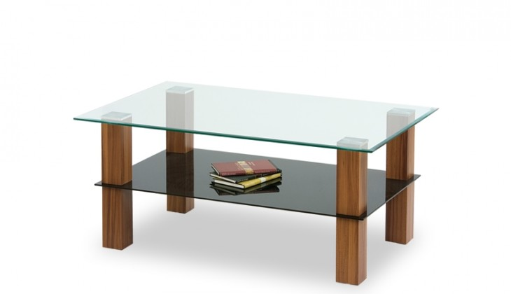Konferenční stolek - skleněný Konferenční stolek Amelia (sklo/černé sklo/ořech)