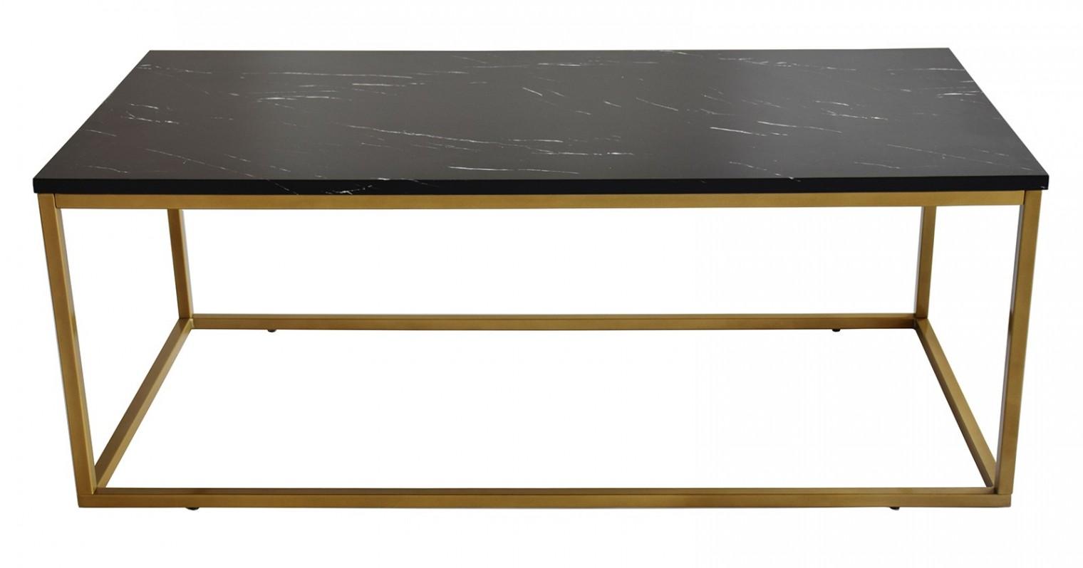 Konferenční stolek - skleněný Konferenční stolek Beside - vzhled černého mramoru (kov, lamino)