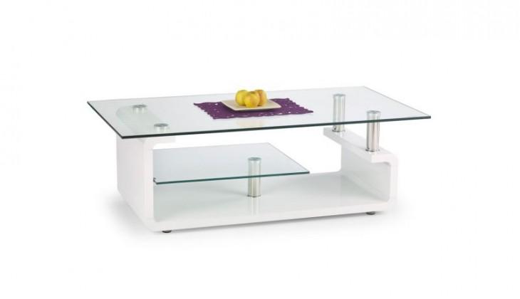 Konferenční stolek - skleněný Konferenční stolek Cynthia (bílá / sklo)