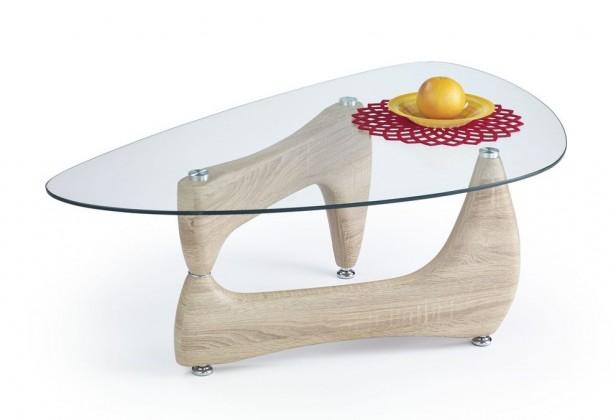 Konferenční stolek - skleněný konferenční stolek karen (dub sonoma)
