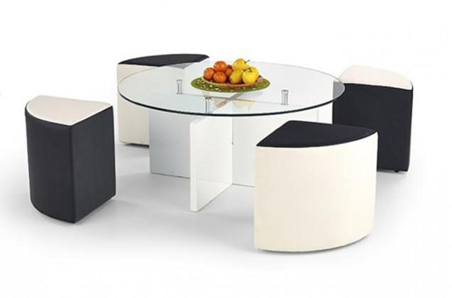 Konferenční stolek - skleněný Konferenční stolek Latoya (Bílá/Černo-bílá)
