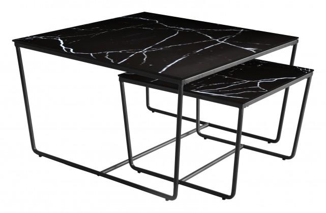 Konferenční stolek - skleněný Konferenční stolek Stella - set 2 ks, stohovatelné (černá/černá)