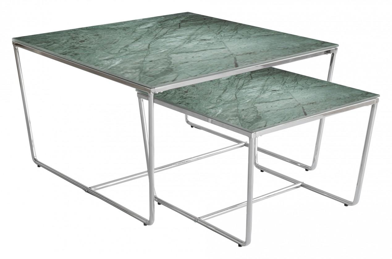 Konferenční stolek - skleněný Konferenční stolek Stella - set 2 ks,stohovatelné (chrom/zelená)