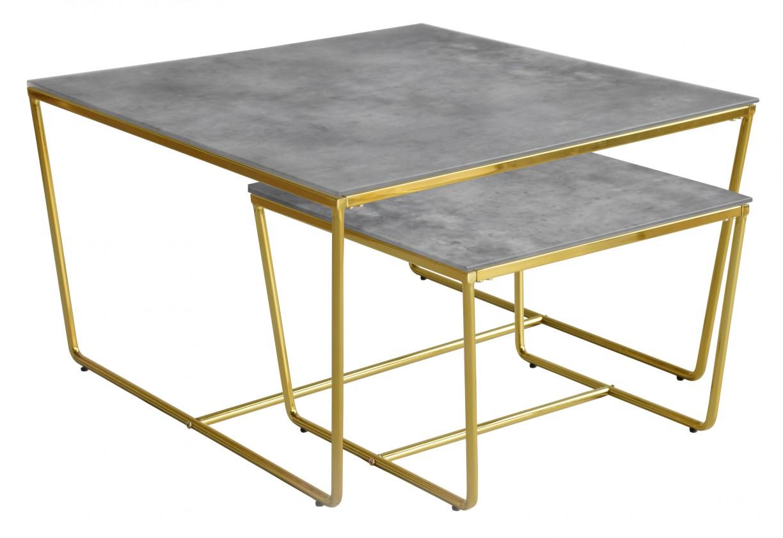 Konferenční stolek - skleněný Konferenční stolek Stella - set 2 ks, stohovatelné (zlatá/šedá)