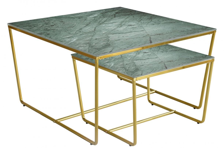 Konferenční stolek - skleněný Konferenční stolek Stella - set 2 ks,stohovatelné (zlatá/zelená)