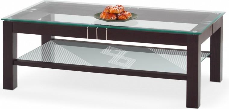 Konferenční stolek - skleněný Livia 2 (wenge/sklo)