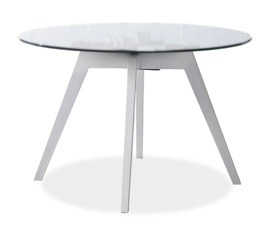 Konferenční stolek - skleněný LOLA 9307-090+BESS 9347-001 (čiré sklo,bílá)