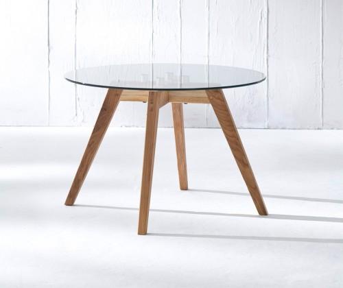 Konferenční stolek - skleněný LOLA 9307-090+BESS 9347-054 (čiré sklo,dub)