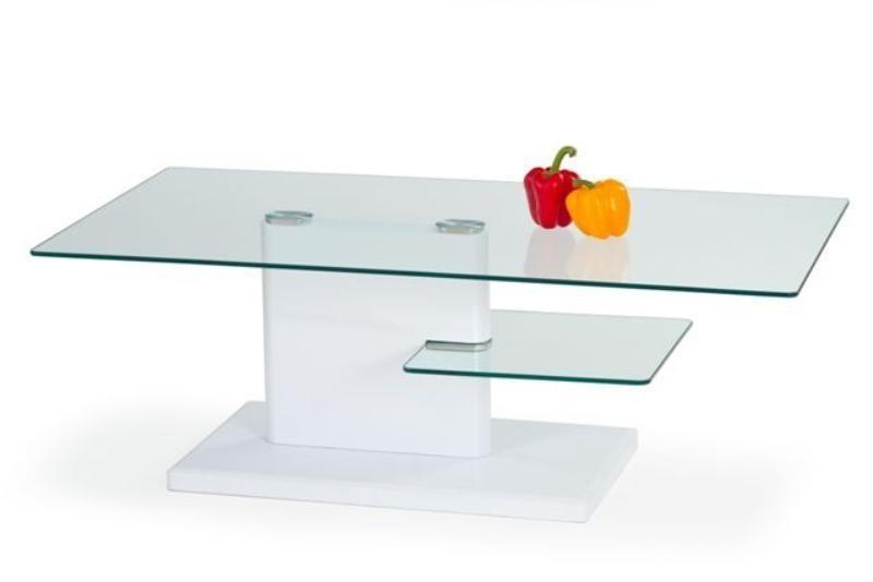 Konferenční stolek - skleněný Madera (bílá / sklo)