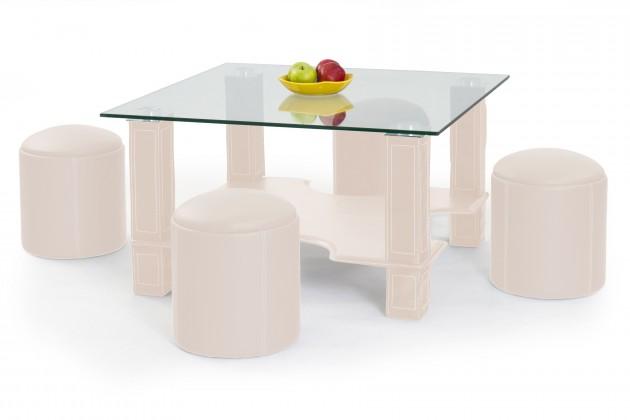 Konferenční stolek - skleněný Megan - Konferenční stolek (krémová)