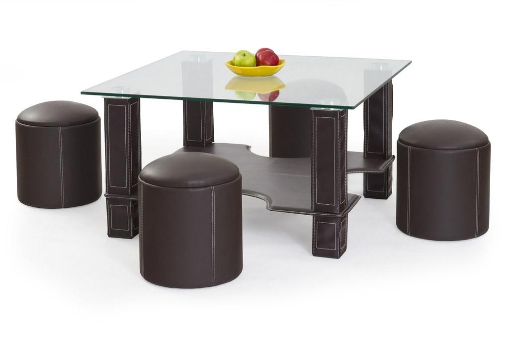 Konferenční stolek - skleněný Megan(tmavě hnědá)