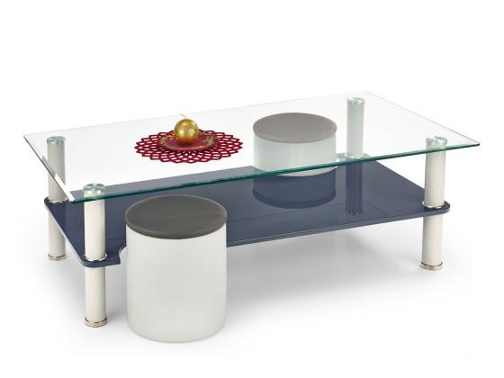 Konferenční stolek - skleněný Monica - Konferenční stolek (světle šedá/tmavě šedá)