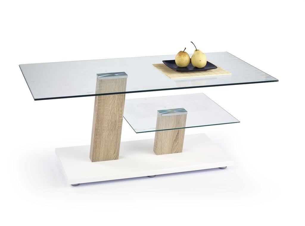 Konferenční stolek - skleněný Niagara (Bílá/Dub Somona)