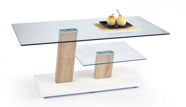 Konferenční stolek - skleněný Niagara (sonoma / bílá / sklo)
