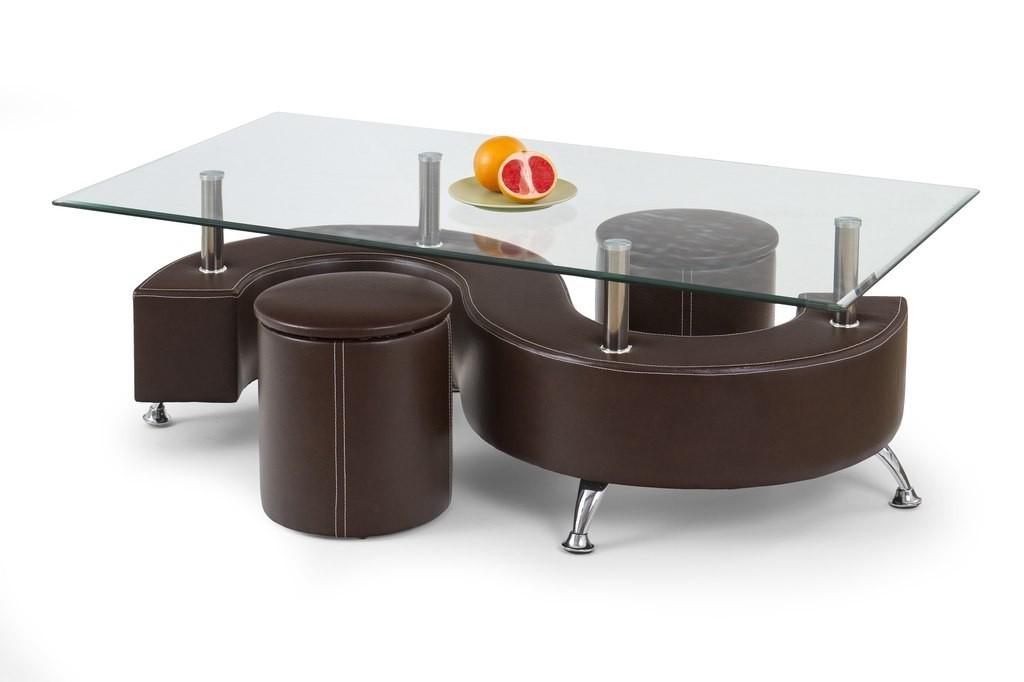 Konferenční stolek - skleněný Nina III H(hnědá)