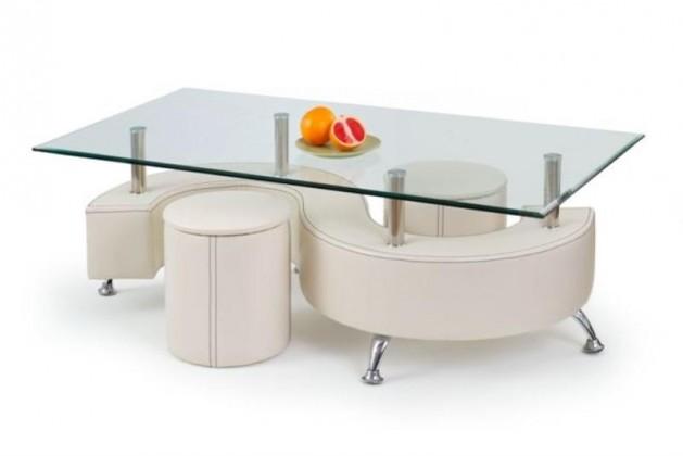 Konferenční stolek - skleněný Nina III konferenční stolek (bílá)