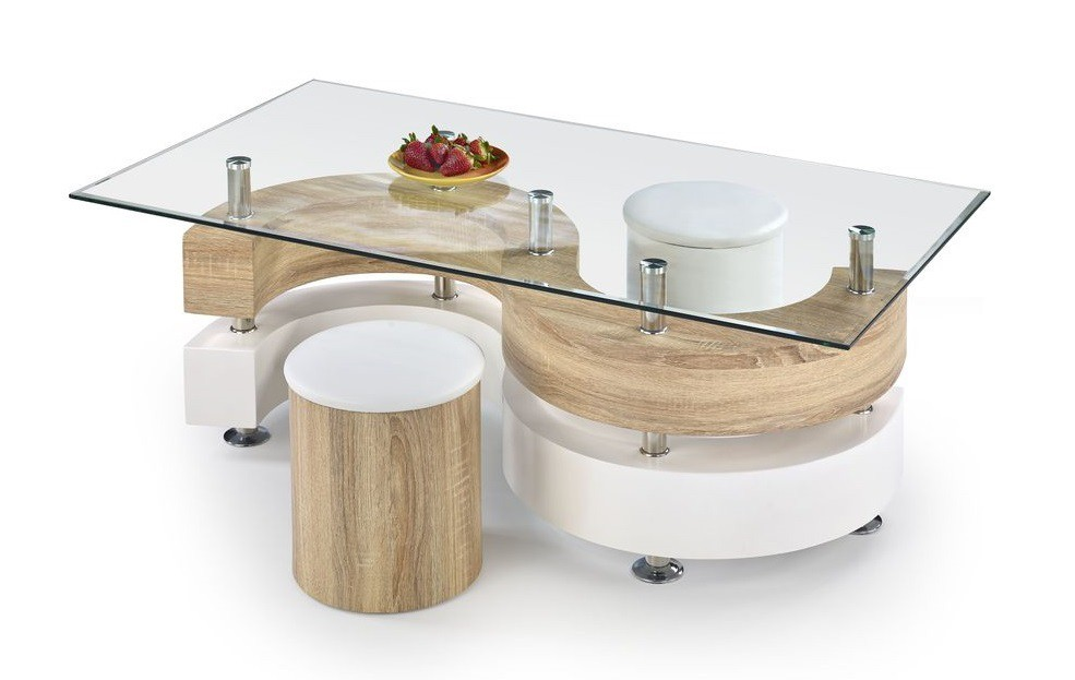 Konferenční stolek - skleněný Nina IV (dub sonoma/bílá)