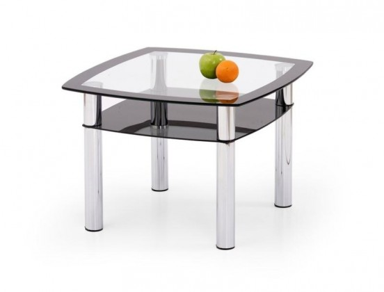 Konferenční stolek - skleněný Salome kwadrat (Čiré sklo/Černé sklo)