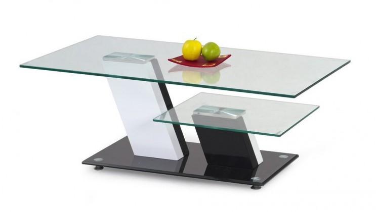 Konferenční stolek - skleněný Savana(bílá/ černá)