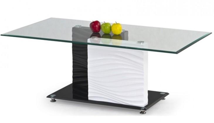 Konferenční stolek - skleněný Shanell (Sklo/Černo-bílá)