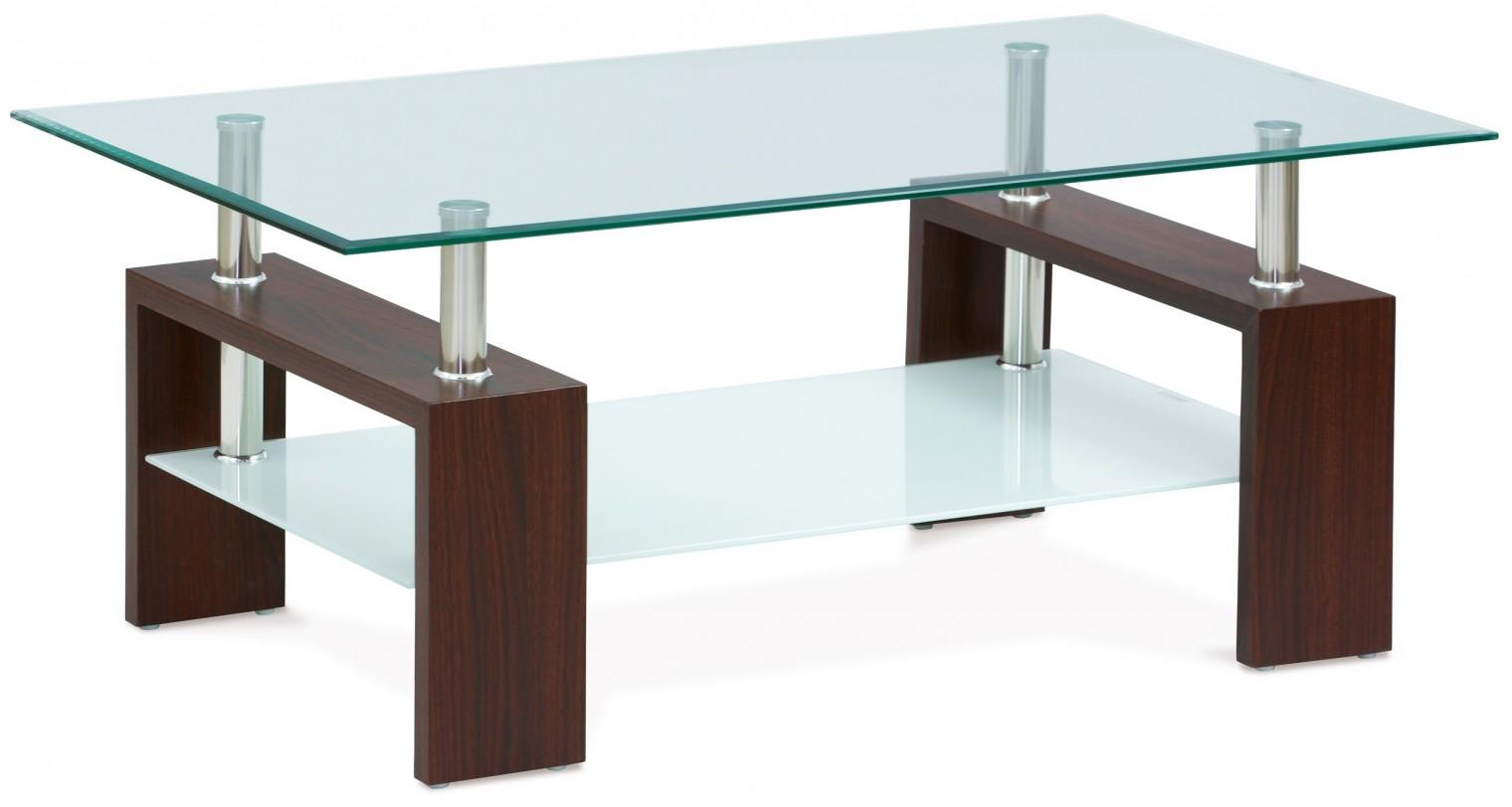 Konferenční stolek - skleněný Simona II (ořech, sklo čiré, mléčná polička)