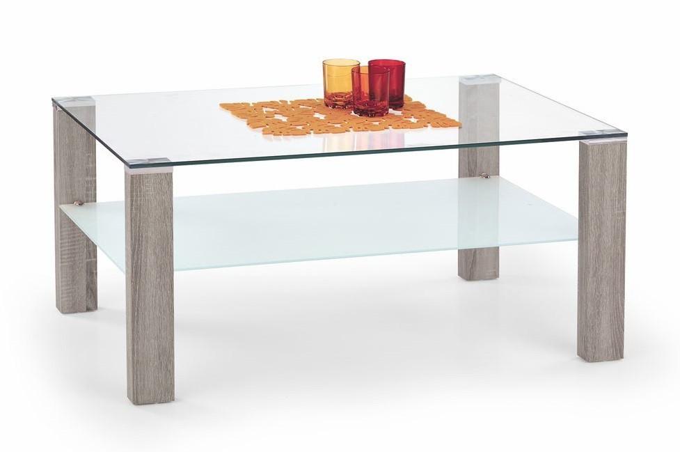 Konferenční stolek - skleněný Simple(dub sonoma tmavý)