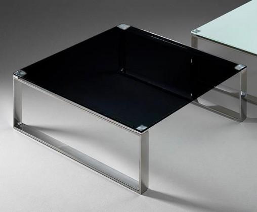 Konferenční stolek - skleněný Stain - Konferenční stolek (černá, 80x80 cm)