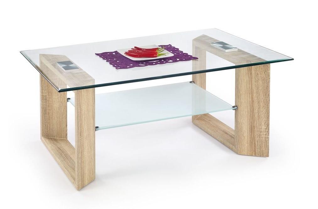 Konferenční stolek - skleněný Tamara(dub sonoma/ mléčné sklo)