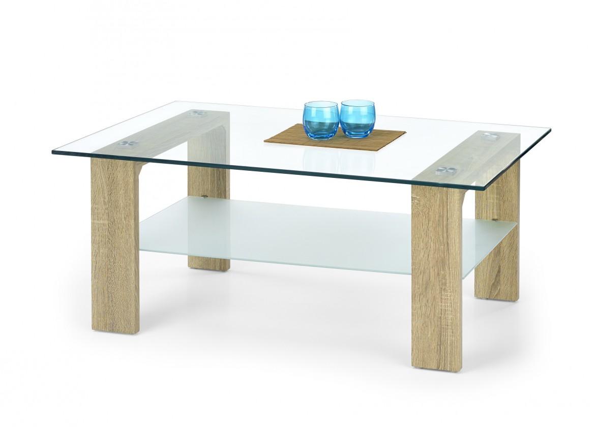 Konferenční stolek - skleněný Vicky - Konferenční stolek (dub sonoma)