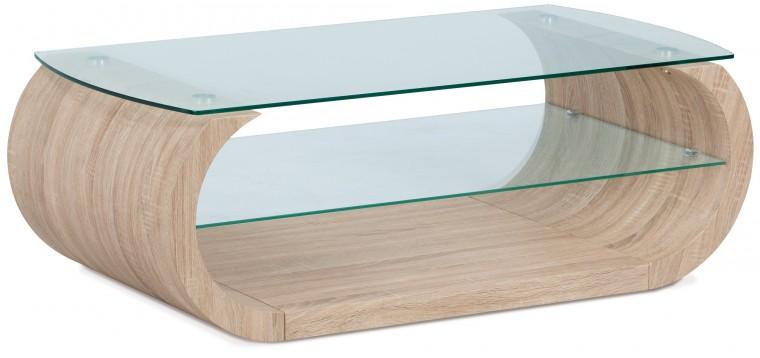Konferenční stolek Son - zaoblené hrany (sonoma, sklo)
