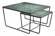 Konferenční stolek Stella - set 2 ks,stohovatelné (černá/zelená)