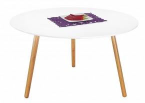 Konferenční stolek Winter - bílý, dubové nohy (dub/bílá)