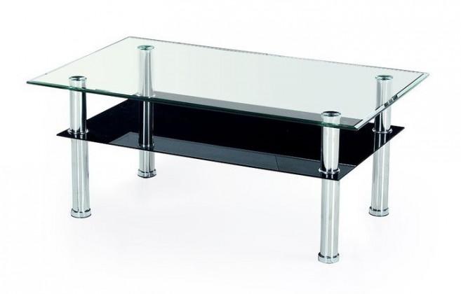 Konferenční stolek Yolanda (sklo/ černá police)