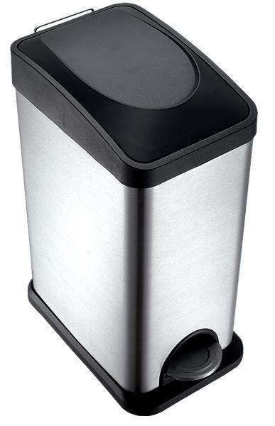 Koš na odpadky, nerezový, 15l, 20x4 (stříbrná, černá)