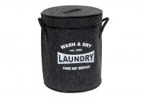 Koš na prádlo s víkem (tmavě šedá)
