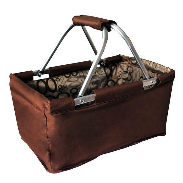 Košík nákupní skládací (bavlna,kov,hnědá)