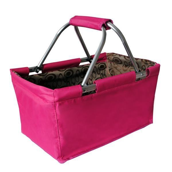 Košík nákupní skládací (bavlna,kov,růžová)