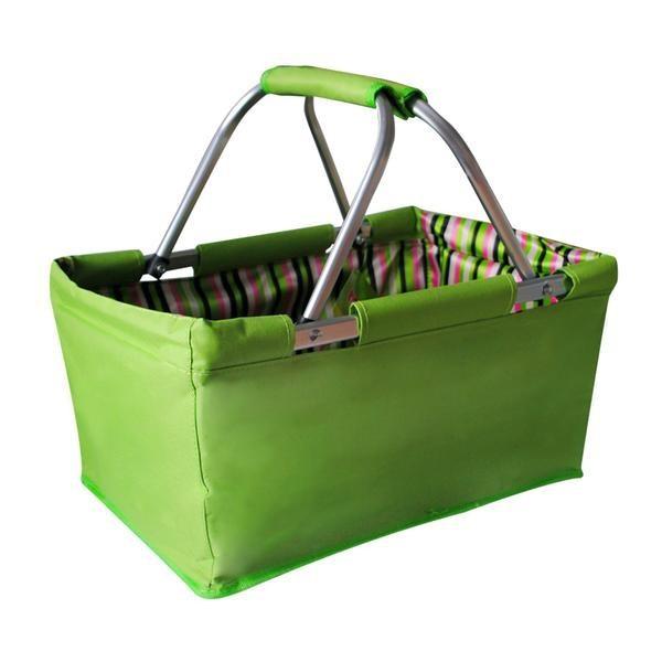 Košík nákupní skládací (bavlna,kov,zelená)