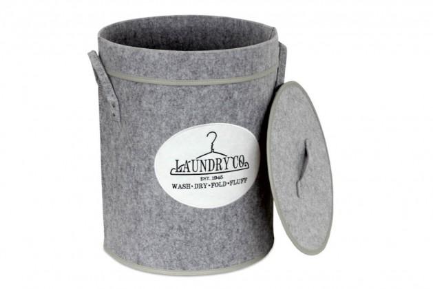 Košíky Koš na prádlo s víkem (světle šedá)