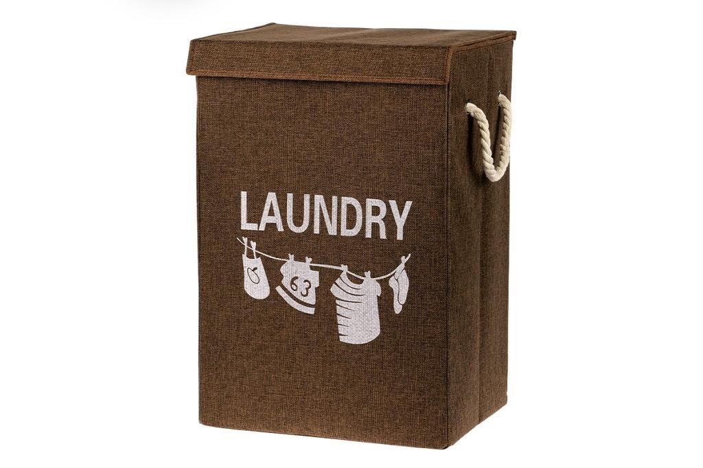 Košíky Plátěný koš na prádlo (hnědá)