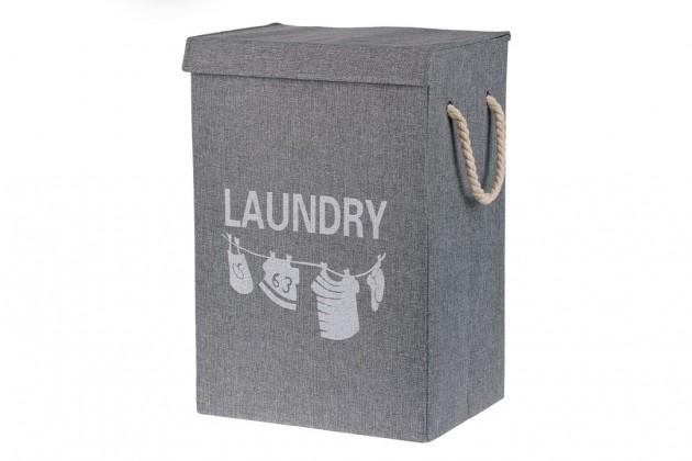 Košíky Plátěný koš na prádlo (šedá)