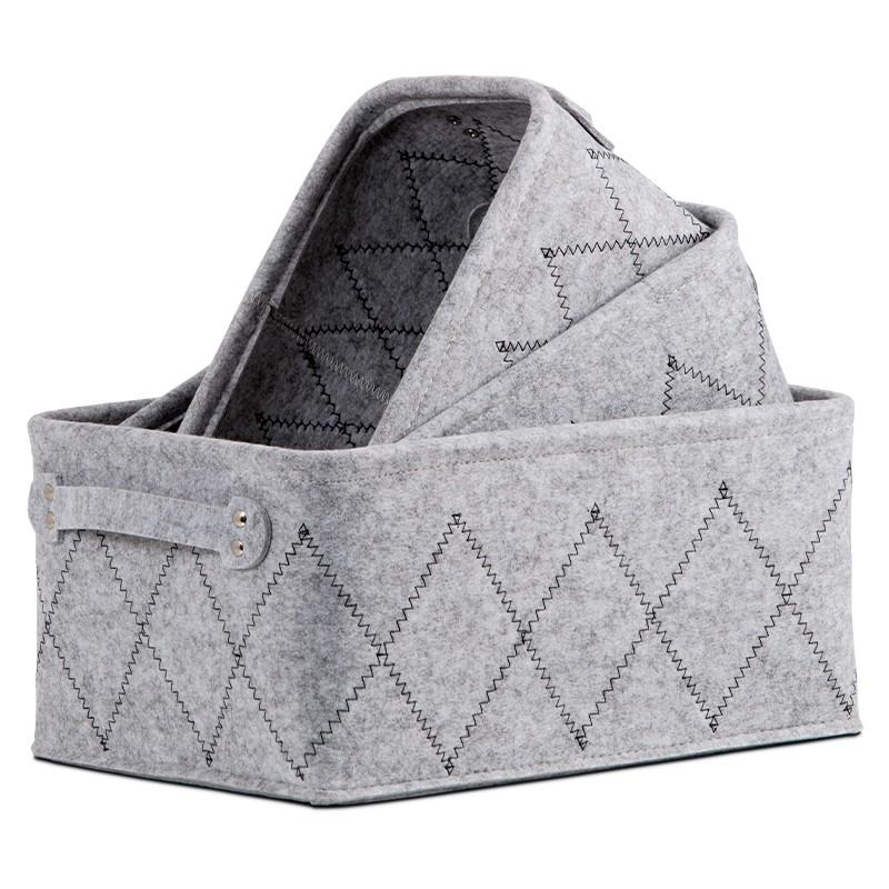 Košíky Sada úložných košíků (3 kusy, světle šedá)