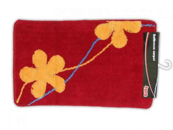 Koupelnová předložka, 50x80 cm (červená s oranžovými květy)
