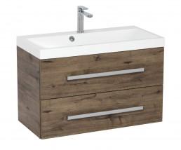 Koupelnová skříňka s umyvadlem Tiera závěsná (80x53x40 cm, dub)